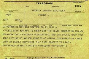 Einsteinov telegram proti poprave.