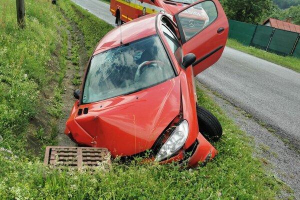 Peugeot skončil v priekope.