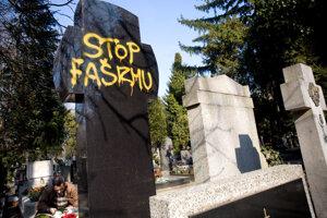 Tisov hrob počarbali v roku 2008 krátko pred každoročnými oslavami vzniku vojnového režimu neonacistami.
