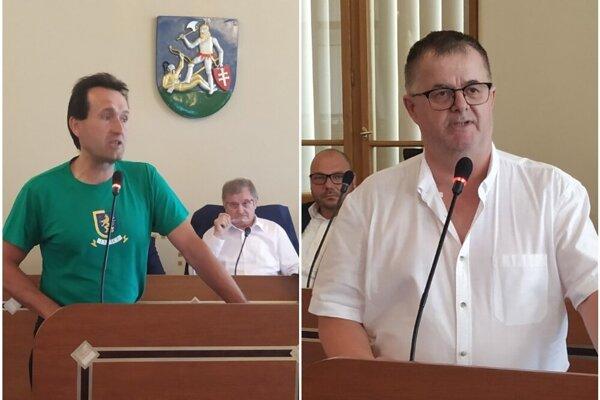 Autor petície Dušan Peter (vľavo) a Roman Hradecký (vpravo) vystúpili aj na poslednom zasadnutí poslancov NSK.