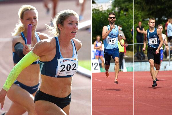 Vľavo snímka z rýchlej štafety 4x100 m: Lenka Kovačovicová odovzdáva kolík Emme Zapletalovej. Vpravo momentky z hladkej štyristovka - Denis Danáč a Patrik Dömötör.