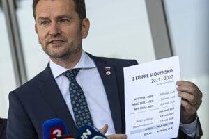 Predseda vlády Igor Matovič počas tlačovej konferencie po prílete z Bruselu.