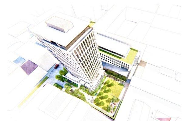 Nový pohľad na Garbiarsku ulicu: Popri súčasnej výškovej budove bývalého daňového úradu môže stáť sedempodlažný objekt.