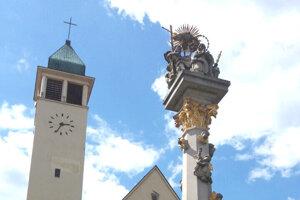 Evanjelický kostol a Stĺp najsvätejšej trojice.