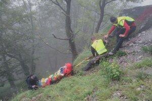 Muž sa nachádzal v exponovanom teréne, záchrana bola náročná.