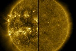 Rozdelený záber ukazuje rozdiel medzi maximom aktivity Slnka (vľavo, apríl 2014) a minimom (vpravo, december 2019).