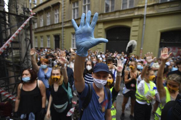 Študenti Vysokej školy divadelných a filmových umení (SZFE) a ich sympatizanti v ochranných rúškach počas protestu proti zmenám spôsobu riadenia univerzity v Budapešti.