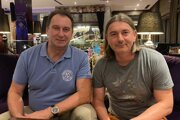 Štefan Dovina (vľavo) a Andrij Kolesnik, zástupcovia investora z Ukrajiny, ktorý má stále záujem o FC Nitra.