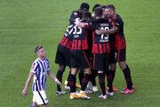 Radosť futbalistov Eintracht Frankfurt.
