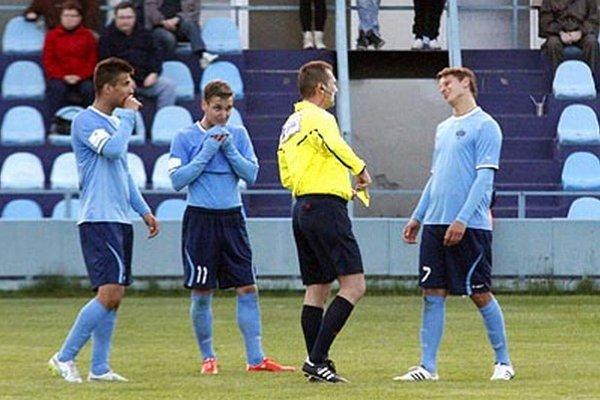 O góly Nitry proti Popradu sa postarali (zľava) Jozef Urblík, Šimon Šmehyl a Matúš Paukner.