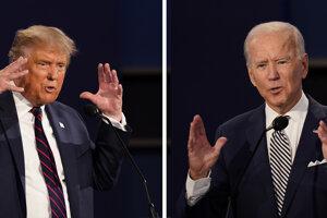 Úradujúci americký prezident Donald Trump (vľavo) a bývalý viceprezident Joe Biden počas prvej prezidentskej debaty 29. septembra 2020 v Clevelande.