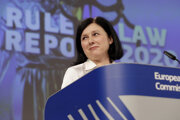 Eurokomisárka Věra Jourová pre hodnoty a transparentnosť, ktorá predniesla správu o stave justície v členských štátoch EÚ.