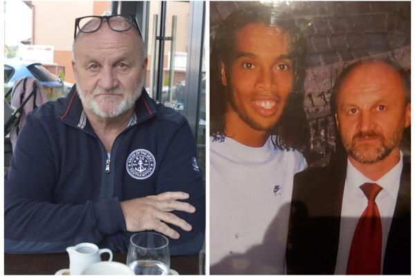 Pavol Holeščák počas nášho rozhovoru a pred sedemnástimi rokmi s Ronaldinhom.