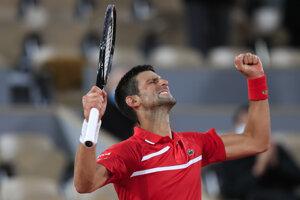 Novak Djokovič v osemfinále Roland Garros 2020.
