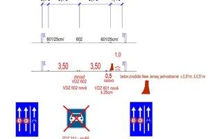 Variant oddelenia jazdných pruhov pre autá od cyklochodníka na krajnici betónovými zábranami.