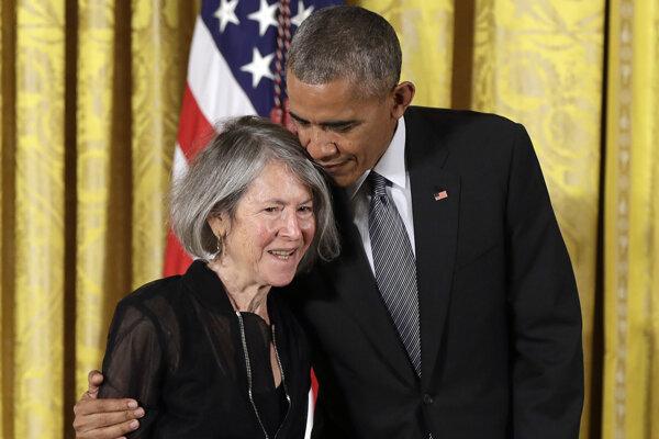 Louise Glücková a exprezident Barack Obama.