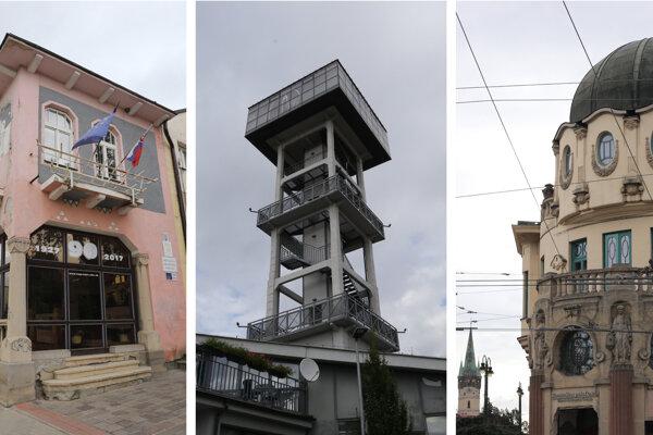 Diela architekta Viliama Glasza. Korčuliarsky pavilón, vodárenska veža a Bosákov dom.