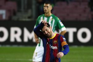 Lionel Messi v zápase proti Betis Sevilla.