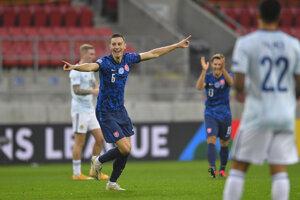 Ján Greguš po góle v zápase Slovensko - Škótsko, Liga národov 2020/2021.