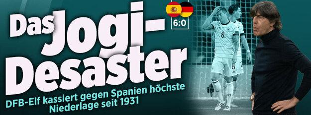 Titulka onlajnovej verzie Bildu po prehre 0:6 v Španielsku.