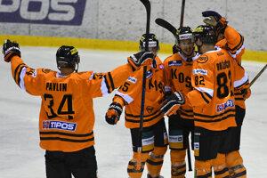Radosť hokejistov HC Košice - ilustračná fotografia.