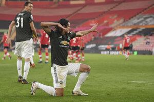 Edinson Cavani v drese Manchester United.