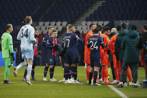 Momentka zo zápasu Paríž St. Germain - Basaksehir Istanbul.