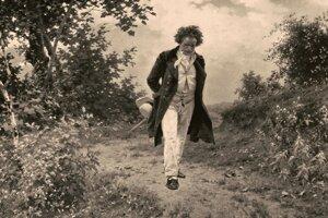 Energická chôdza a husté, neučesané vlasy, tak stvárnil skladateľa viedenský maliar Julius Schmid.