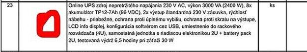 Požiadavka pošty na zdroj nepretržitého napájania sa nápadne podobá na ponuku od TSS Group, len výdrž batérie sa neuvádza v minútach (390), ale je prerátaná na 6,5 hodiny.