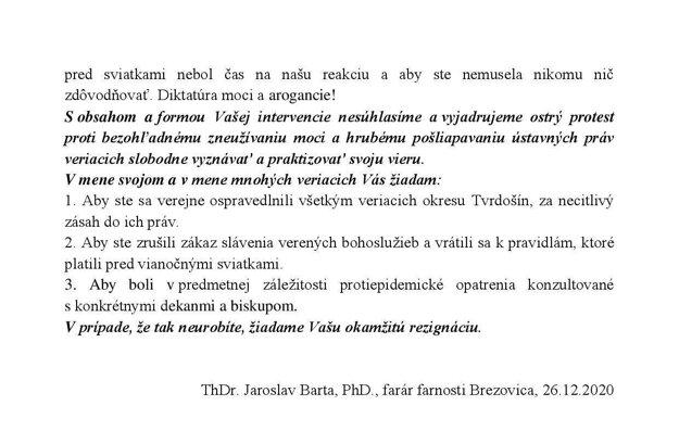 List kňaza z Brezovice regionálnej hygieničke.