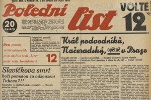 Večerní list  23. 10. 1929 priniesol správu o kráľovi podvodnikov.