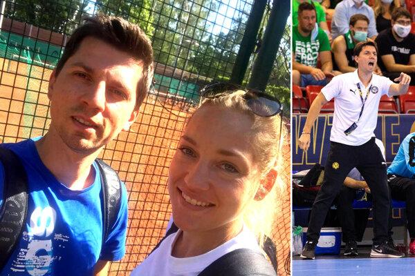 Tomáš Hlavatý s priateľkou, českou hádzanárkou Janou Knedlíkovou. Vpravo: Na lavičke Rostova ako hlavný tréner v zápase Ligy majstrov v Budapešti.
