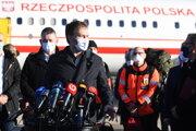 Premiér Igor Matovič počas tlačovej konferencie po prílete poľských lekárov a zdravotníkov, ktorí pomôžu počas celoplošného skríningu na ochorenie COVID-19.