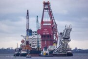 Na dostavbe plynovodu Nord Stream 2 pracuje ruská loď Fortuna v blízkosti pobrežia Dánska.