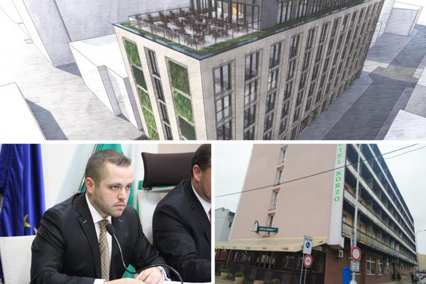 Na koláži: Vizualizácia zrekonštruovaného Hotela Korzo, viceprimátor a konateľ nového nájomcu Lukáš Štefánik a aktuálny pohľad na hotel z ulice.