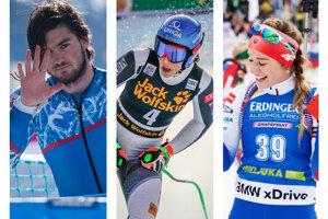 Zľava Andreas Žampa, Petra Vlhová a Paulína Fialková.
