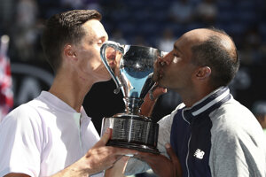 Joe Salisbury a Rajeev Ram po výhre na Australian Open 2020.