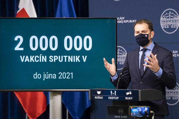 Premiér Igor Matovič tvrdí, že sa s ruskou stranou dohodol na dodávke dvoch miliónov vakcín.
