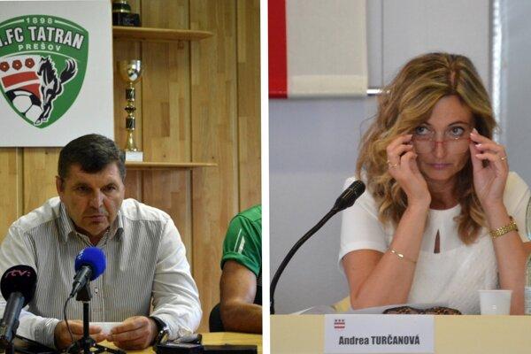 Prezident futbalového klubu a predseda predstavenstva 1. FC Tatran Miroslav Remeta a primátorka Prešova Andrea Turčanová.