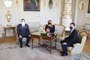 Predseda NRSR Boris Kollár (Sme rodina), prezidentka SR Zuzana Čaputová a predseda vlády SR Igor Matovič (OĽaNO).
