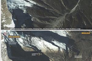 Dva zábery ukazujú rieku Rišiganga pred zosuvom pôdy (hore) a po ňom.