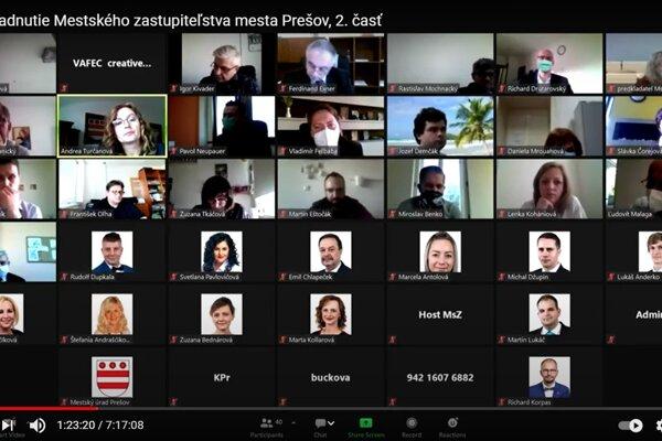 Zasadnutie prešovského zastupiteľstva prostredníctvom videokonferencie.