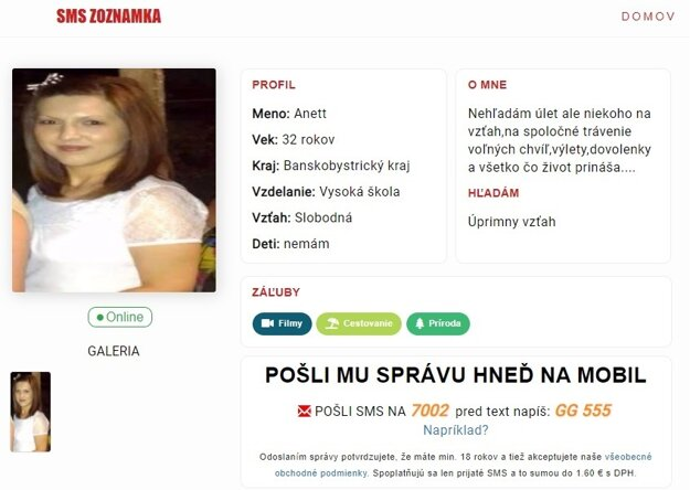 Profil na zrušenom webe sms-zoznamka.sk