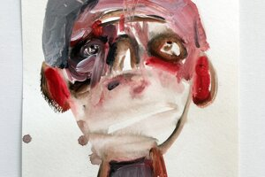 Marek Ormandík svoju sériu obrazov Ksichty doplnil o orúškovanú tvár.