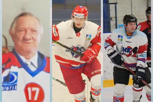 Hokejová generácie pokračuje tretím pokolením - z ľava Anton Kalousek st., Simon Kalousek a Anton Kalosuek ml.
