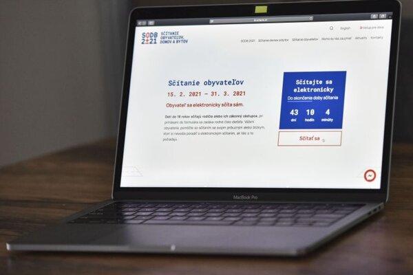 Na snímke internetová stránka www.scitanie.sk počas celoštátneho Sčítania obyvateľov, domov a bytov (SODB) 2021, ktoré sa uskutočňuje od 15. februára do 31. marca 2021.
