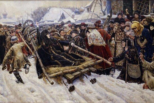 Bojarku Feodosiu Morozovovú, podporujúcu starovercov, odvážajú násilím do kláštora. Na znak svojej starej viery ukazuje dva prsty miesto troch na prekrižovanie. Obraz Vasilija Surikova zo zbierok Tretiakovskej galérie v Moskve.
