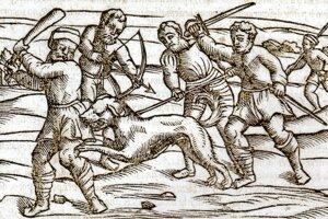 Stredoveká drevorytina od neznámeho autora zobrazuje besného psa.