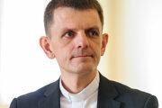 Hovorca KBS Martin Kramara počas brífingu po skončení plenárneho zasadnutia Konferencie biskupov Slovenska