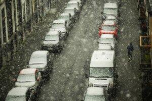 Sneženie v Bruseli.